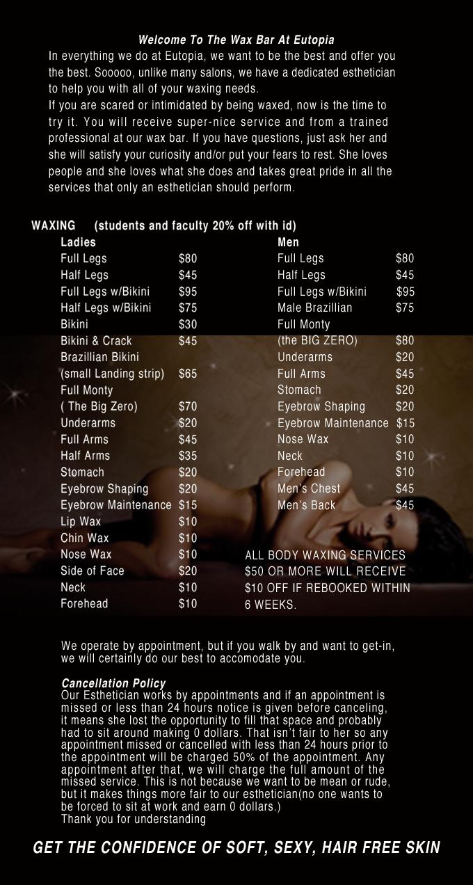 Waxing menu